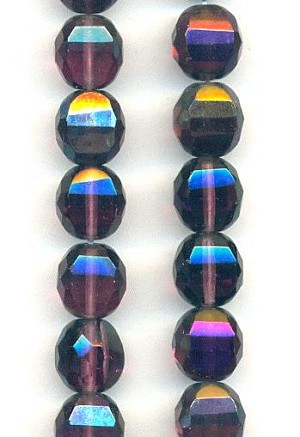 10mm Amethyst AB Faceted Glass Beads