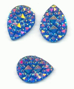 18x13mm Blue AB Pear Glitter (Geode)