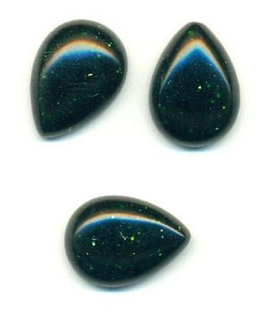 18x13mm Green Goldstone Pear Cabochon