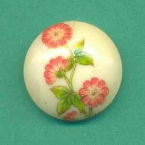 16mm Orange/Off-White Floral Cabochon