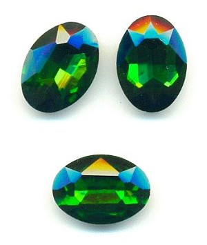 18x13mm Grass Green Oval Crystal RS
