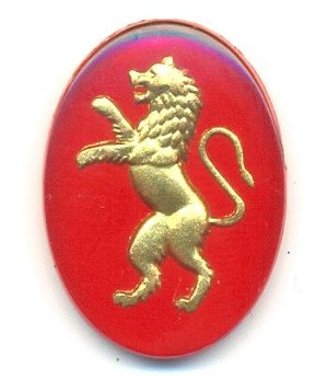 25x18mm Preciosa Red/Gold Lion Stone