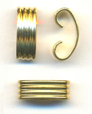 14.5x5.5mm Ribbed Gilt Brass Connectors