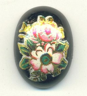 18x13mm Black/Gold Acrylic Flower Stone