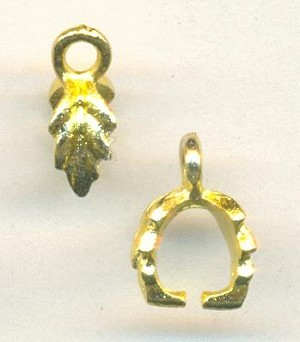 11x4mm Gold Plated Leaf Pinch Bail