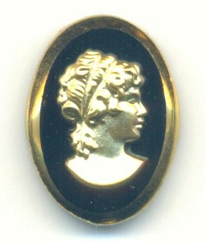 18x13mm Black and Gold Glass Cameo-R