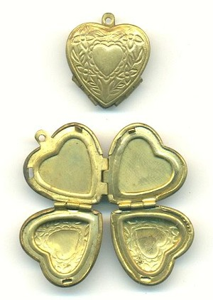20mm Brass Heart Locket 4-Part
