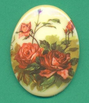 40x30mm Floral Oval Glass Stone