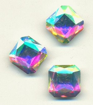 14mm Crystal Clear AB Square Octagon RS