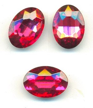 18x13mm Rose Oval Crystal RS