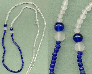 35'' Pre-Strung Clear/Blue Glass Beads