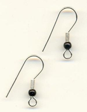 20mm SP Black Beaded Ear Wires