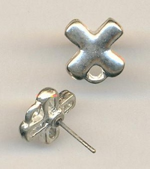 10mm SP Cast Metal ''X'' Ear Posts