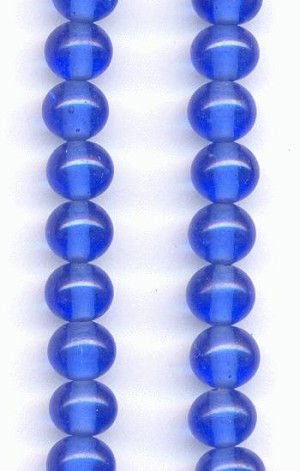 6mm Sapphire Pressed Glass Beads