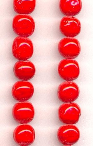 6mm Cherry Red Baroque Glass Beads