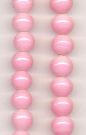 14mm Pink Pressed Glass Beads