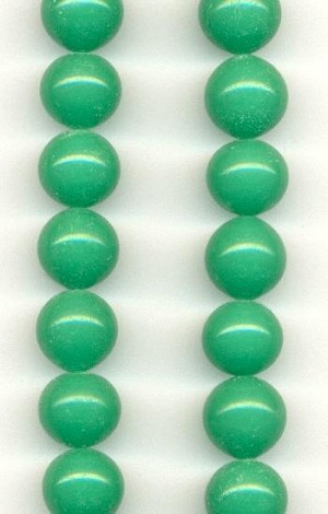 10mm Jade Pressed Glass Beads