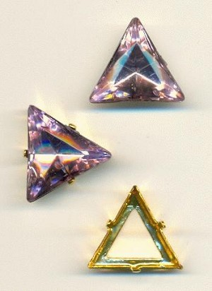 20mm LT Amethyst Triangle, GP Sew-On Set