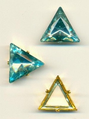 20mm LT Aqua Triangle, GP Sew-On Set