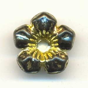 14mm Black/Gold Acrylic Flower Beads