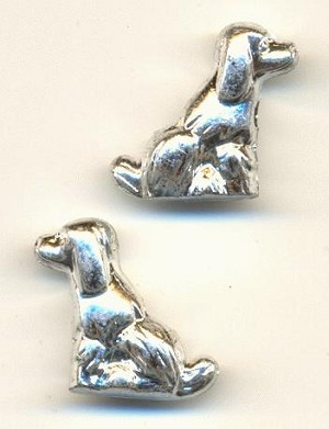 21x21mm Silver MP Dog Beads