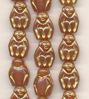 14mm Carmel/Gold Monkey Beads