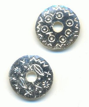 13mm Silver Plated Disk Beads